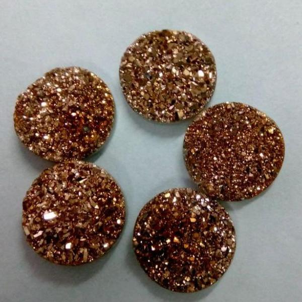 5905acaa74 10mm Natural Rose Gold Color Coating Flat Druzy 50 Pieces Lot Round ...