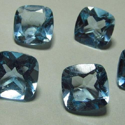 Natural Sky Blue Topaz 7mm 50 Pieces Lot Faceted Cut Cushion Blue Color - Natural Loose Gemstone