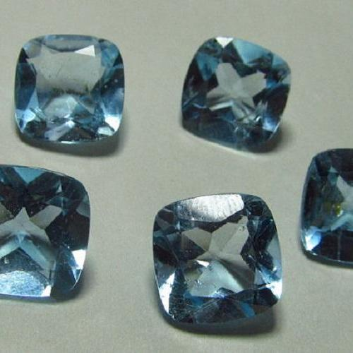 Natural Sky Blue Topaz 8mm 2 Pieces Lot Faceted Cut Cushion Blue Color - Natural Loose Gemstone