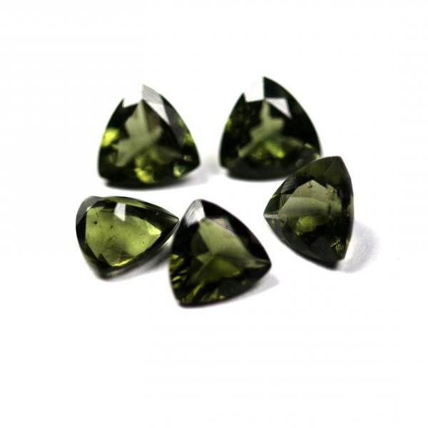 6mm Natural Moldavite Faceted Cut Trillion Top Quality Green Color 5 Pieces Loose Gemstone Wholesale Lot For Sale